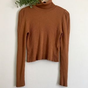 Topshop Orange Cropped Turtleneck Sweater Size 8